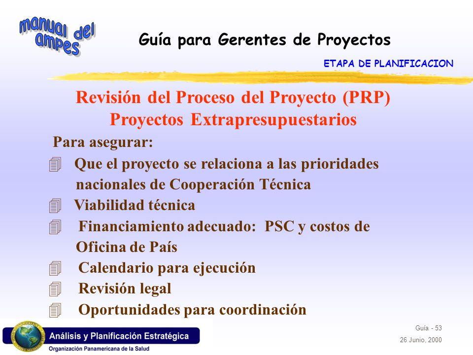 Revisión del Proceso del Proyecto (PRP) Proyectos Extrapresupuestarios