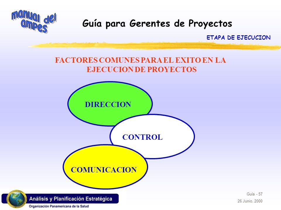 FACTORES COMUNES PARA EL EXITO EN LA EJECUCION DE PROYECTOS
