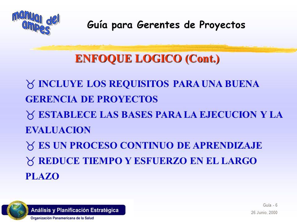 ENFOQUE LOGICO (Cont.) INCLUYE LOS REQUISITOS PARA UNA BUENA GERENCIA DE PROYECTOS. ESTABLECE LAS BASES PARA LA EJECUCION Y LA EVALUACION.