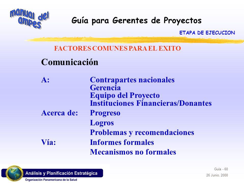 FACTORES COMUNES PARA EL EXITO