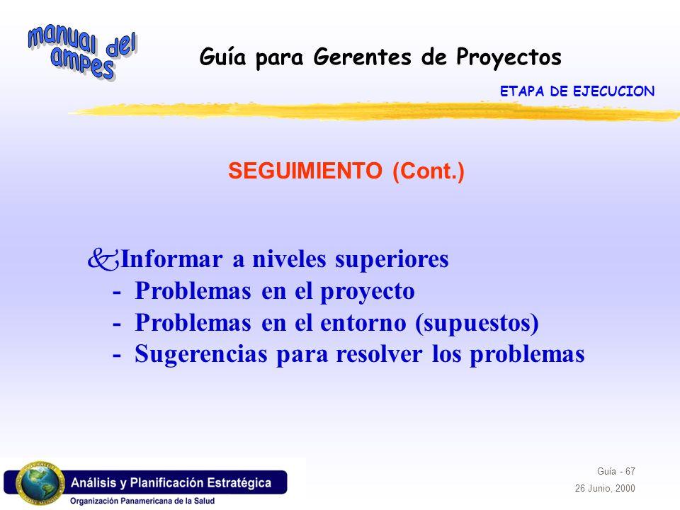 ETAPA DE EJECUCIONSEGUIMIENTO (Cont.)