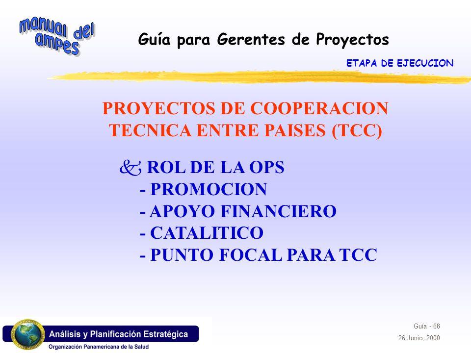 PROYECTOS DE COOPERACION TECNICA ENTRE PAISES (TCC)
