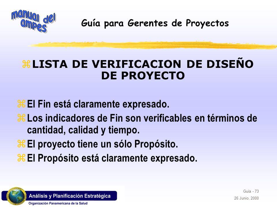 LISTA DE VERIFICACION DE DISEÑO DE PROYECTO