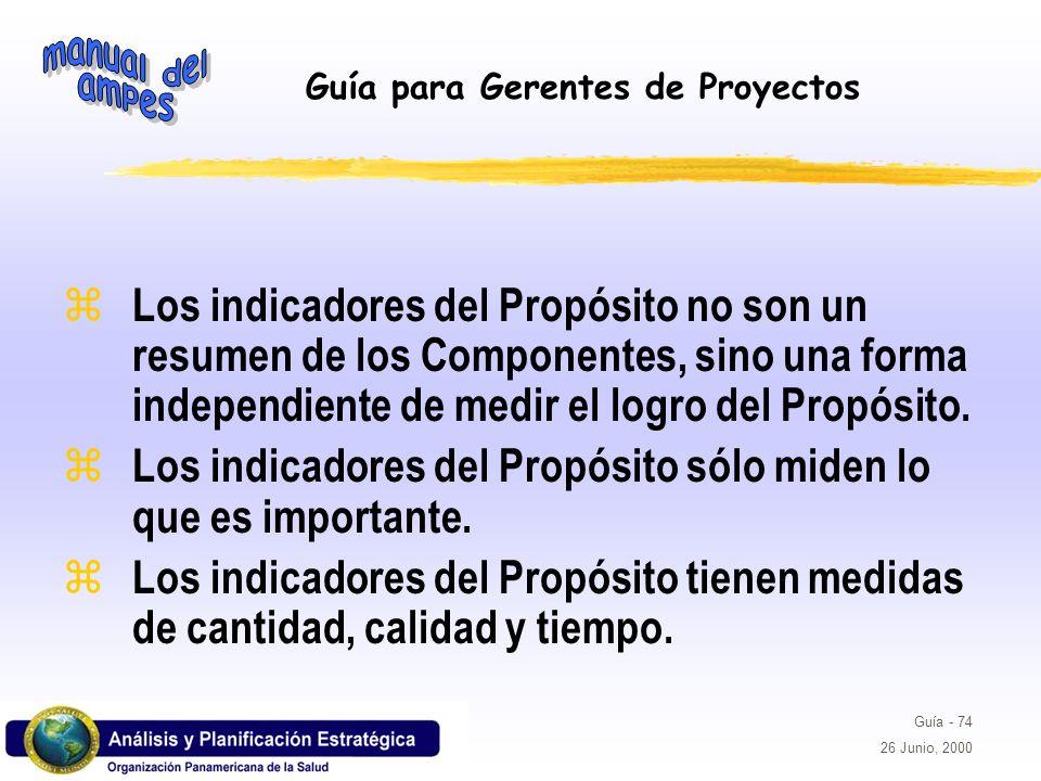 Los indicadores del Propósito no son un resumen de los Componentes, sino una forma independiente de medir el logro del Propósito.