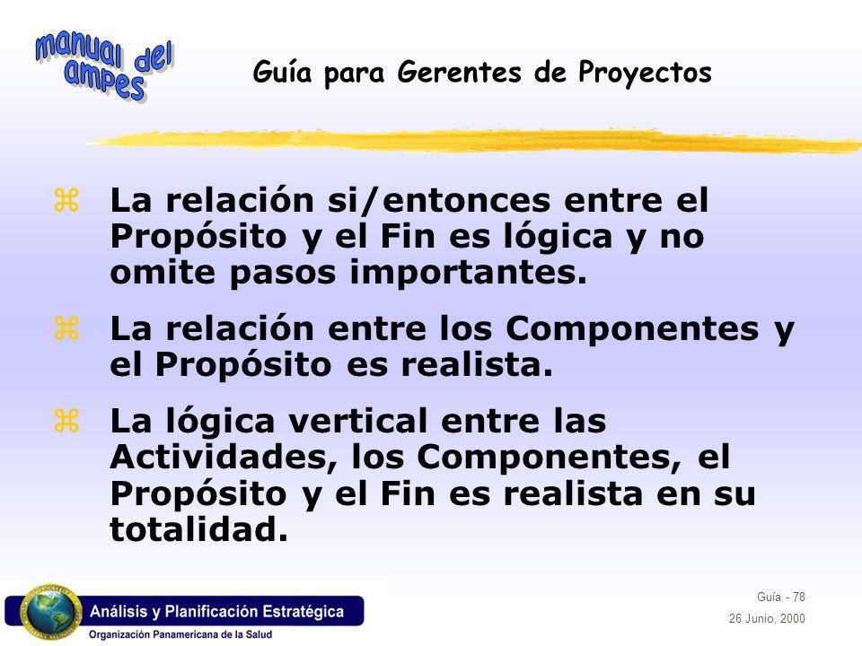 La relación si/entonces entre el Propósito y el Fin es lógica y no omite pasos importantes.