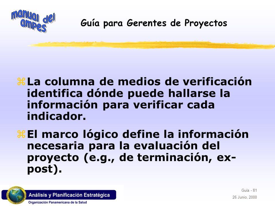 La columna de medios de verificación identifica dónde puede hallarse la información para verificar cada indicador.