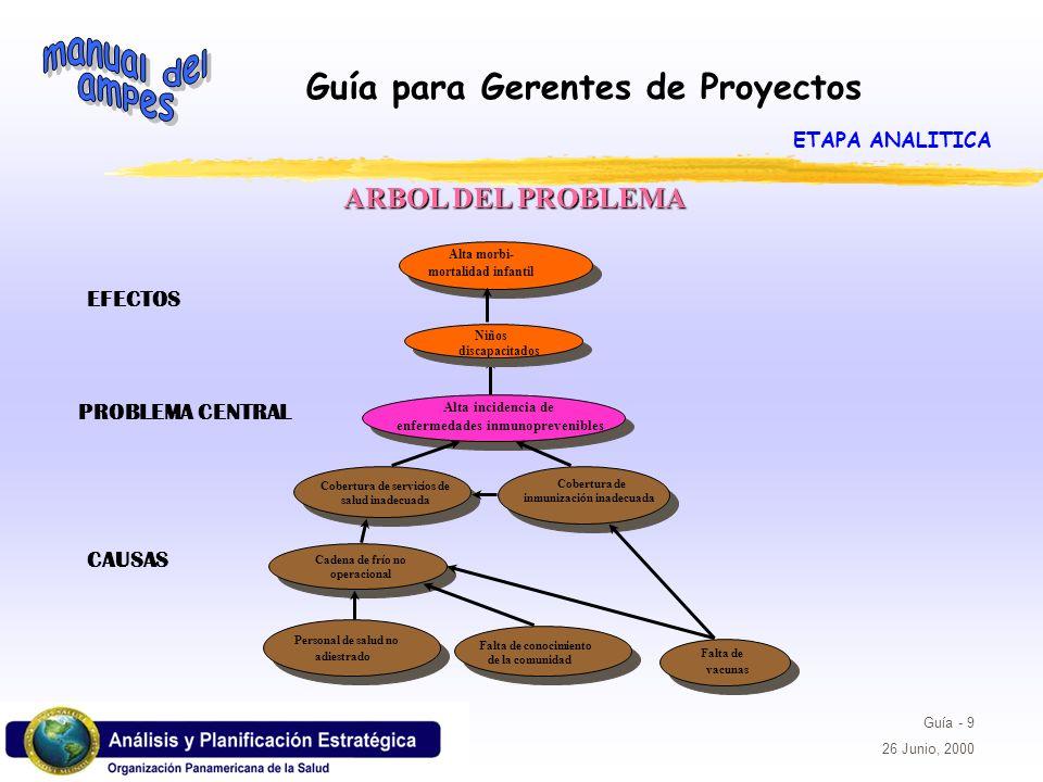 ARBOL DEL PROBLEMA EFECTOS PROBLEMA CENTRAL CAUSAS ETAPA ANALITICA