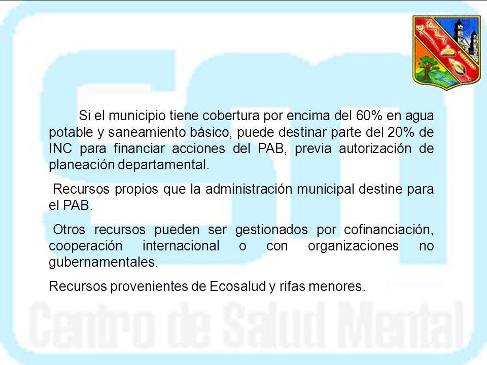 Si el municipio tiene cobertura por encima del 60% en agua potable y saneamiento básico, puede destinar parte del 20% de INC para financiar acciones del PAB, previa autorización de planeación departamental.