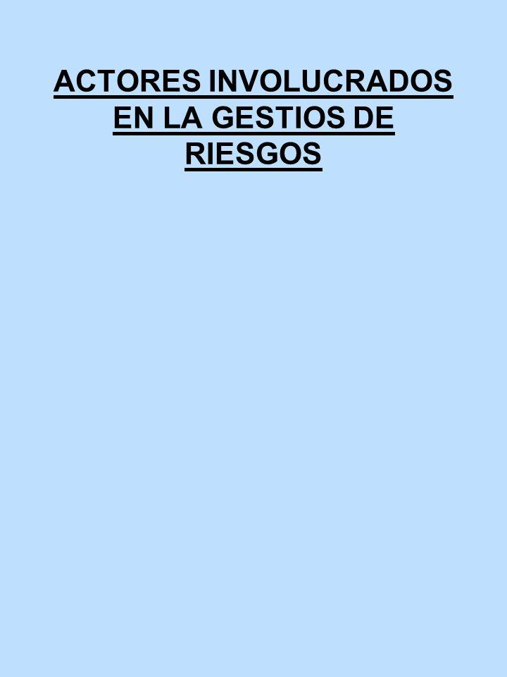 ACTORES INVOLUCRADOS EN LA GESTIOS DE RIESGOS