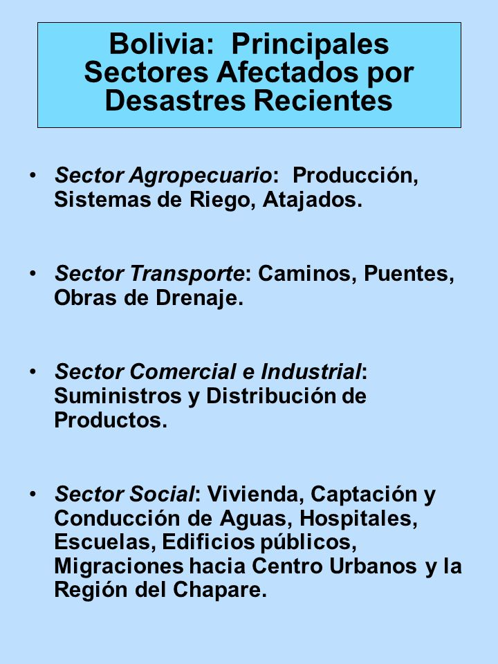 Bolivia: Principales Sectores Afectados por Desastres Recientes