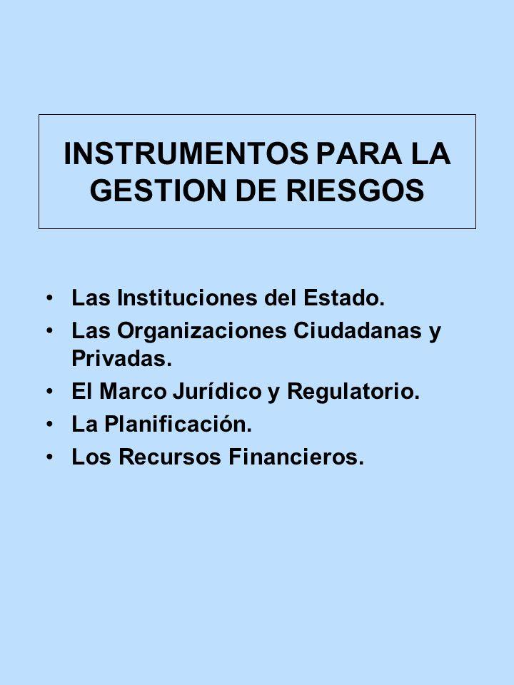 INSTRUMENTOS PARA LA GESTION DE RIESGOS