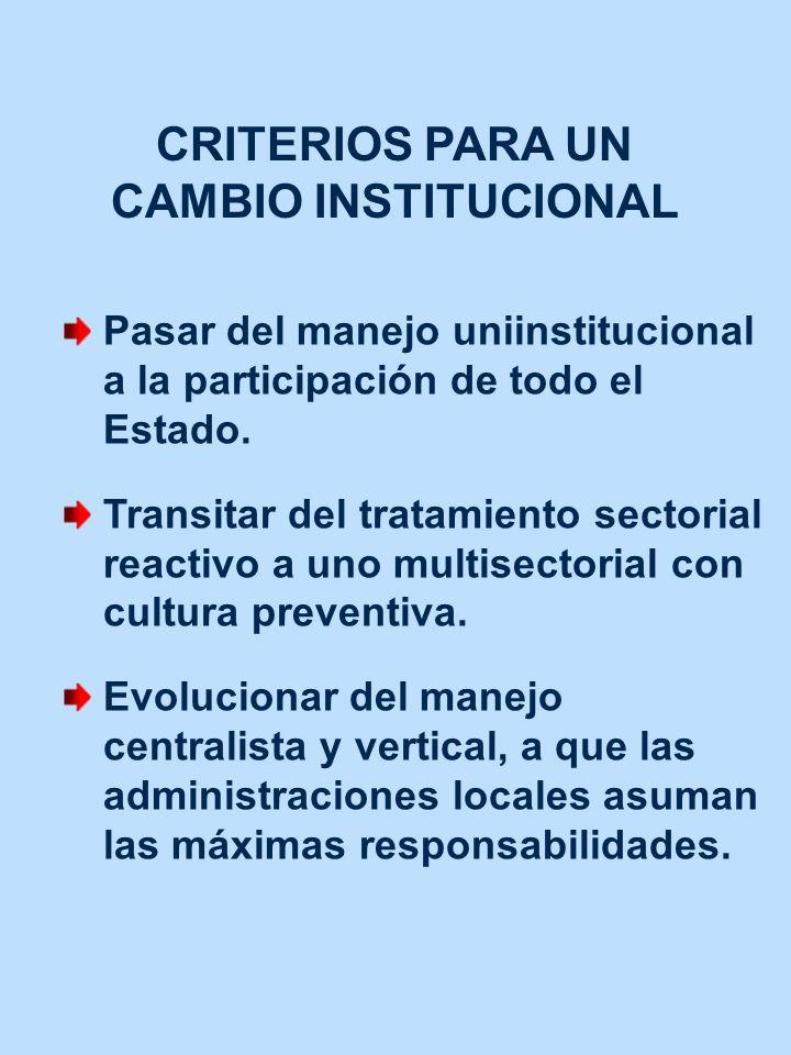 CRITERIOS PARA UN CAMBIO INSTITUCIONAL