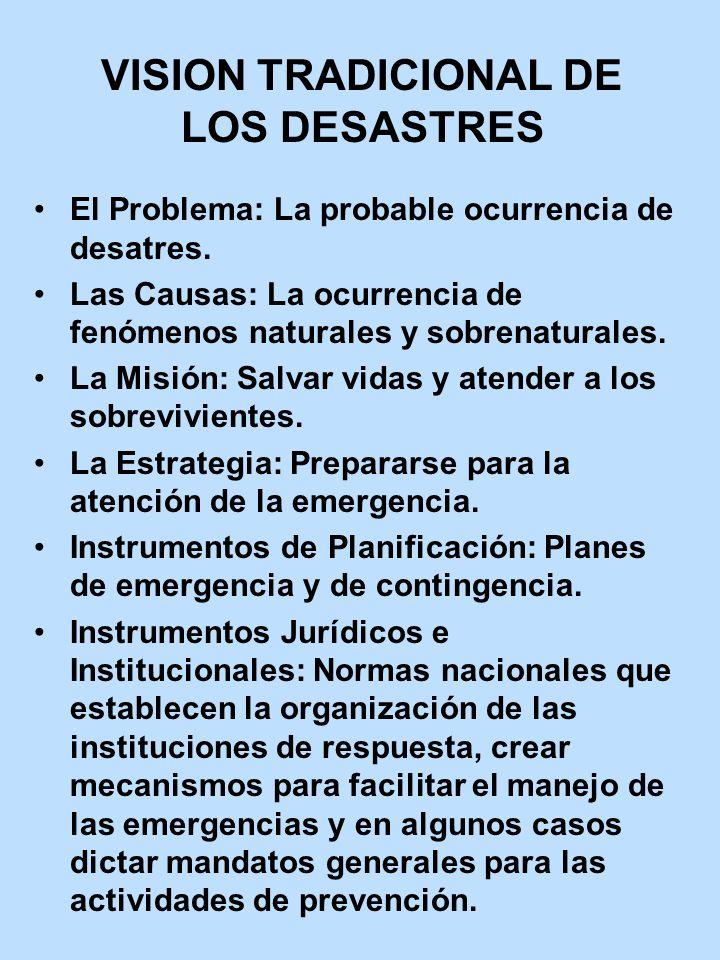 VISION TRADICIONAL DE LOS DESASTRES