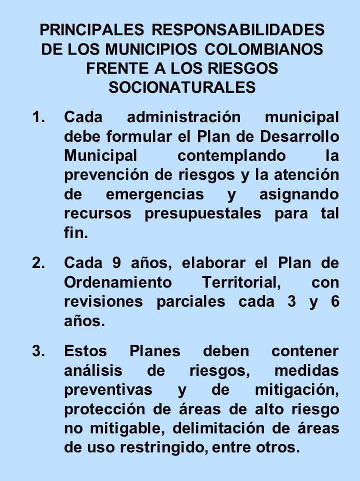 PRINCIPALES RESPONSABILIDADES DE LOS MUNICIPIOS COLOMBIANOS FRENTE A LOS RIESGOS SOCIONATURALES
