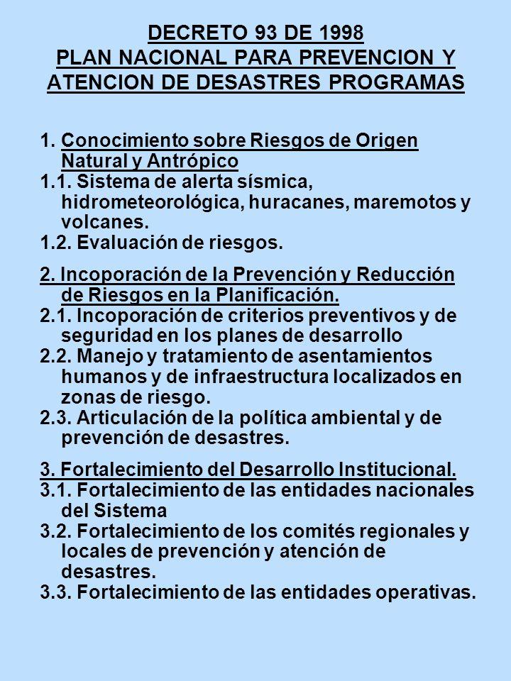DECRETO 93 DE 1998 PLAN NACIONAL PARA PREVENCION Y ATENCION DE DESASTRES PROGRAMAS