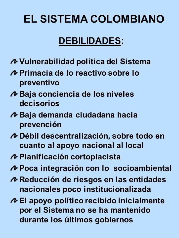EL SISTEMA COLOMBIANO DEBILIDADES: Vulnerabilidad política del Sistema