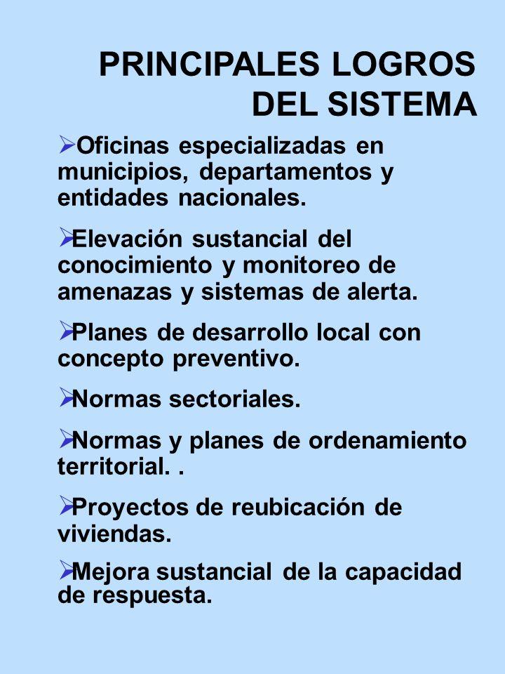 PRINCIPALES LOGROS DEL SISTEMA