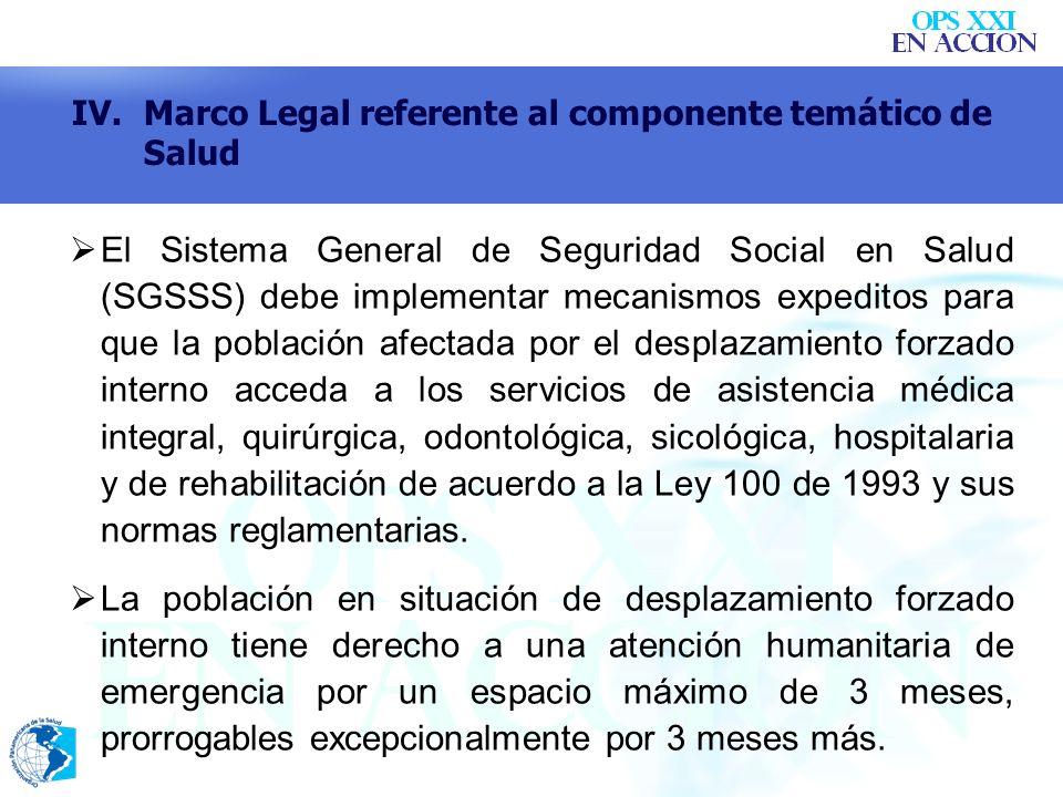 IV. Marco Legal referente al componente temático de Salud