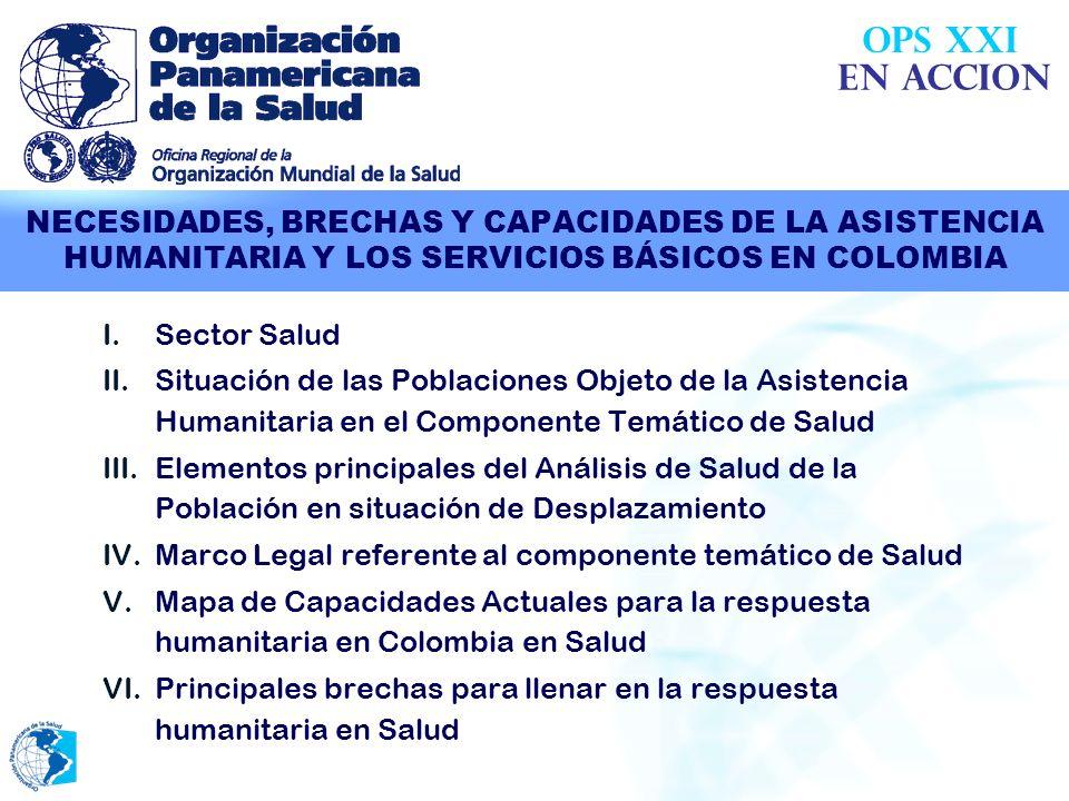 OPS XXIEN ACCION. NECESIDADES, BRECHAS Y CAPACIDADES DE LA ASISTENCIA HUMANITARIA Y LOS SERVICIOS BÁSICOS EN COLOMBIA.