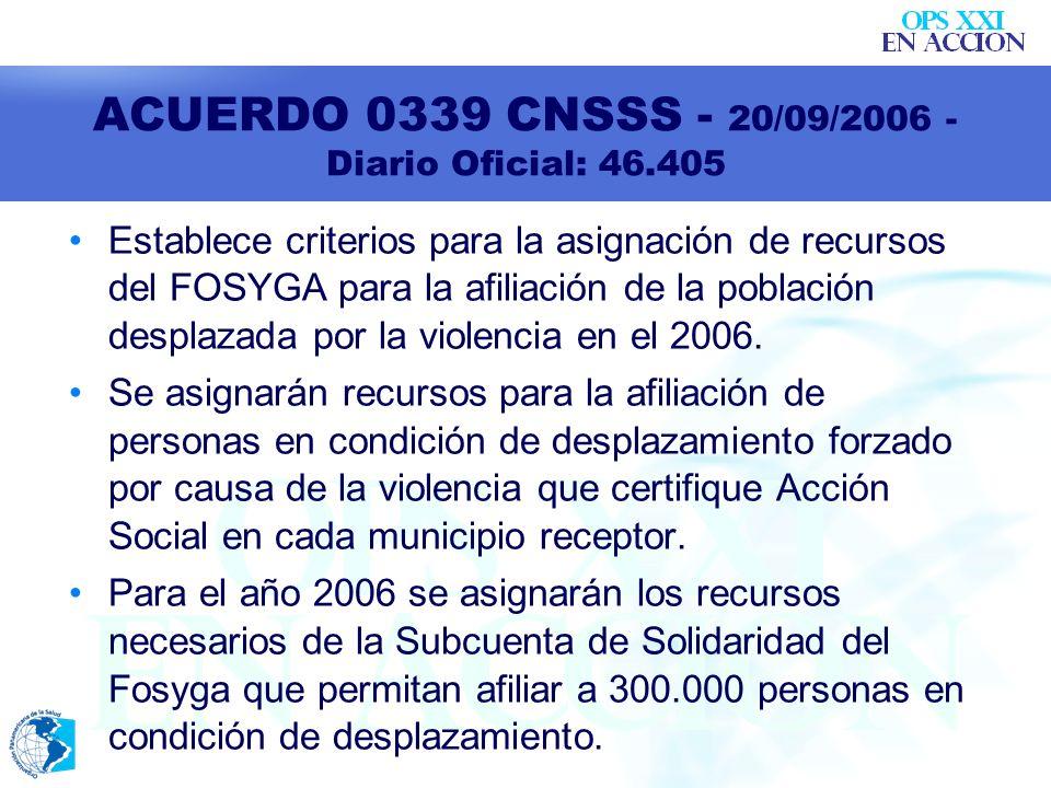 ACUERDO 0339 CNSSS - 20/09/2006 - Diario Oficial: 46.405