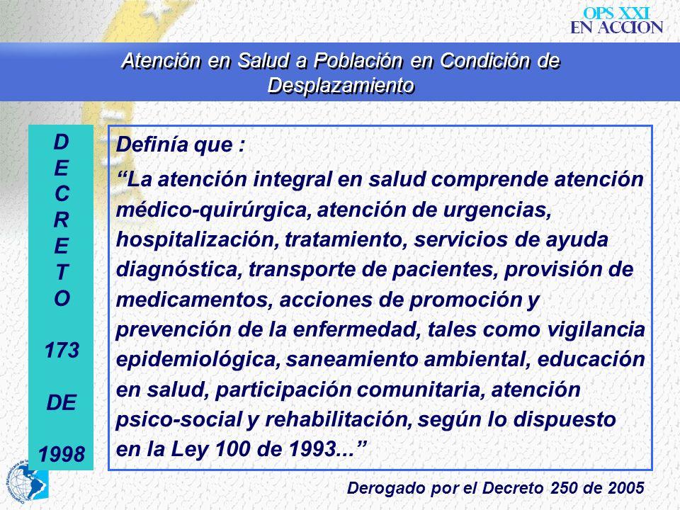 Atención en Salud a Población en Condición de Desplazamiento