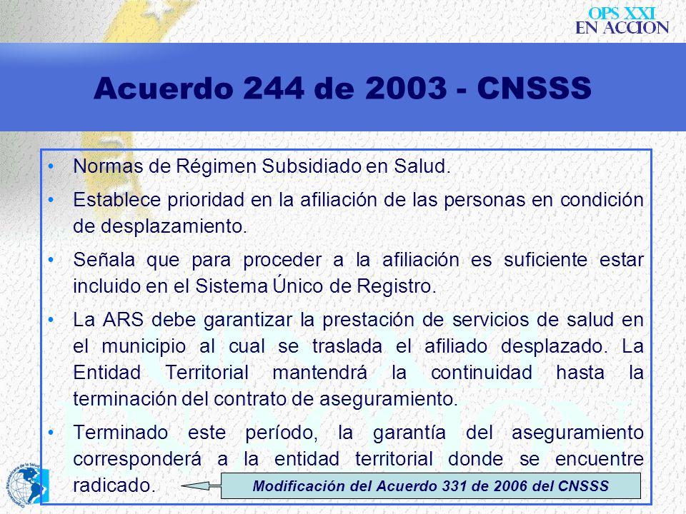 Modificación del Acuerdo 331 de 2006 del CNSSS