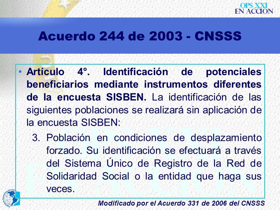 Acuerdo 244 de 2003 - CNSSS