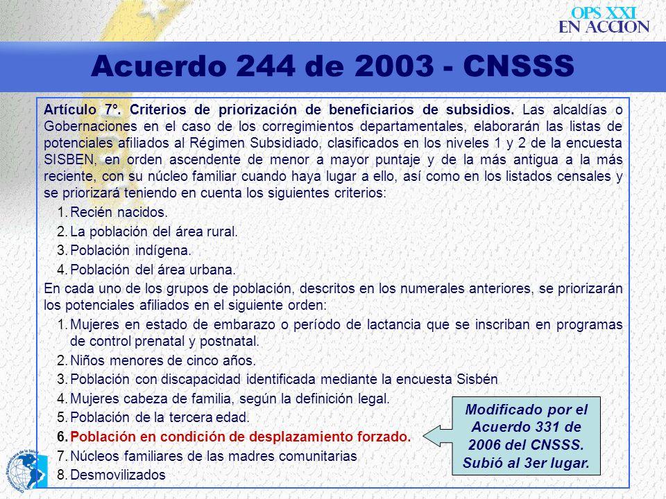 Modificado por el Acuerdo 331 de 2006 del CNSSS. Subió al 3er lugar.