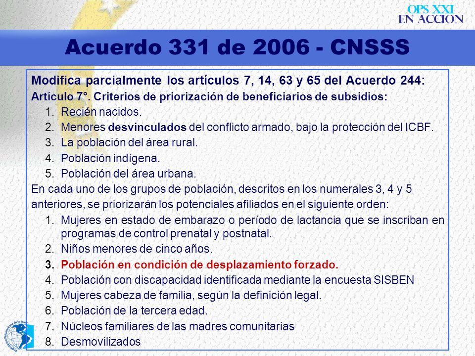 Acuerdo 331 de 2006 - CNSSS Modifica parcialmente los artículos 7, 14, 63 y 65 del Acuerdo 244: