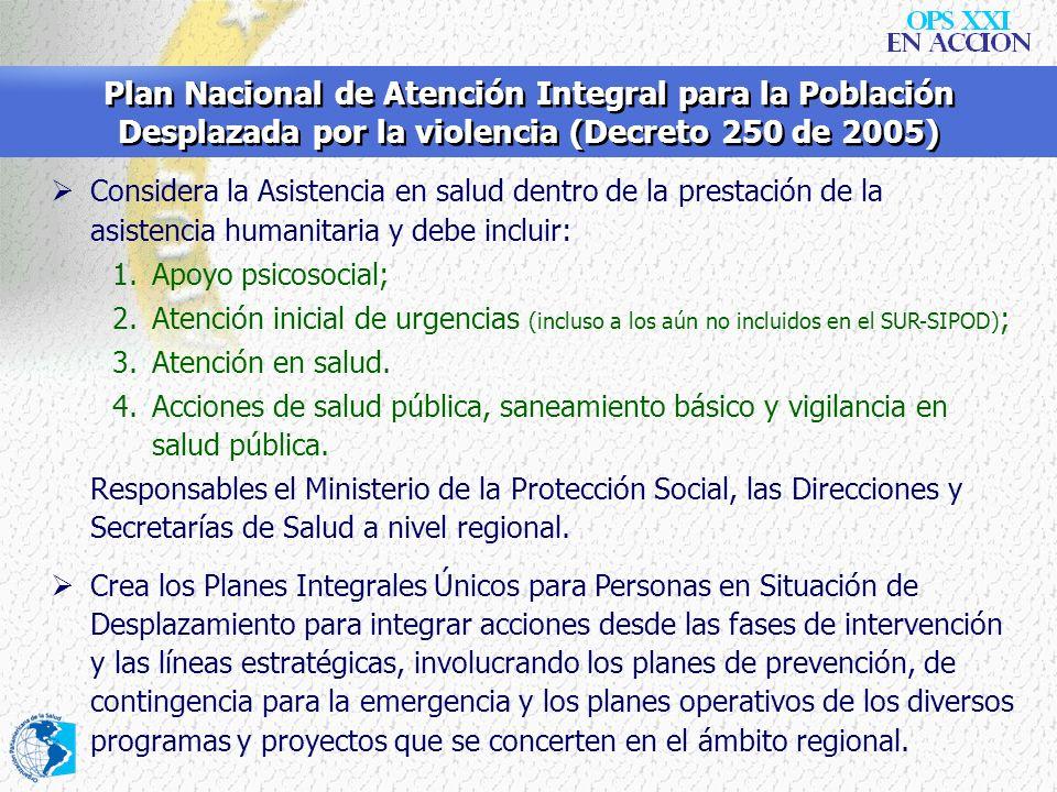 Plan Nacional de Atención Integral para la Población Desplazada por la violencia (Decreto 250 de 2005)