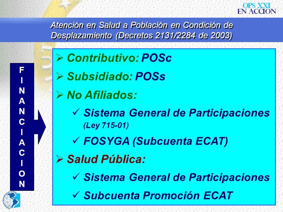 Contributivo: POSc Subsidiado: POSs No Afiliados: Salud Pública: