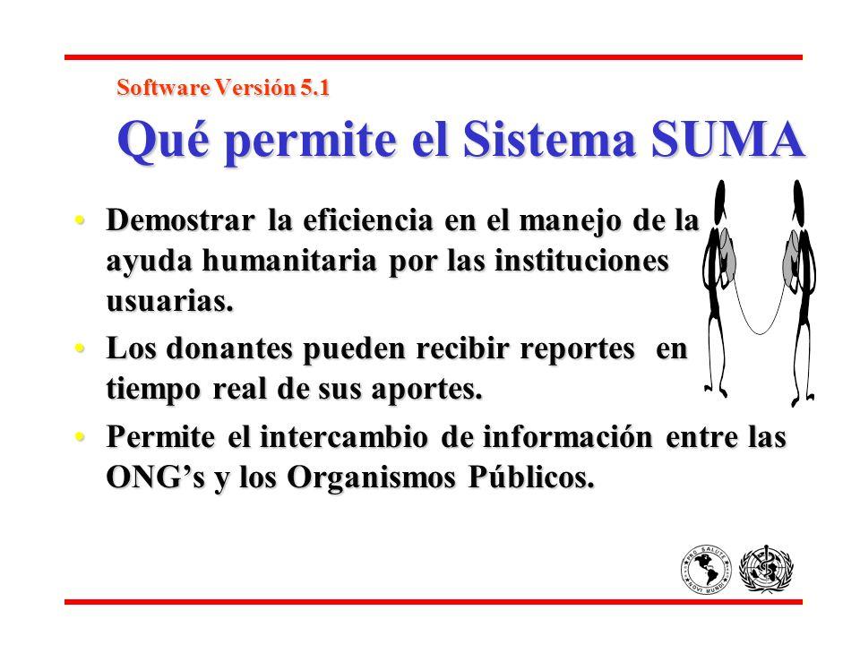 Software Versión 5.1 Qué permite el Sistema SUMA