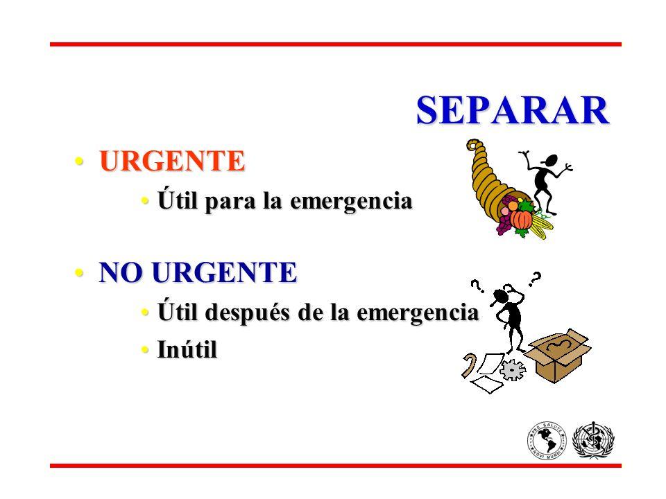 SEPARAR URGENTE NO URGENTE Útil para la emergencia