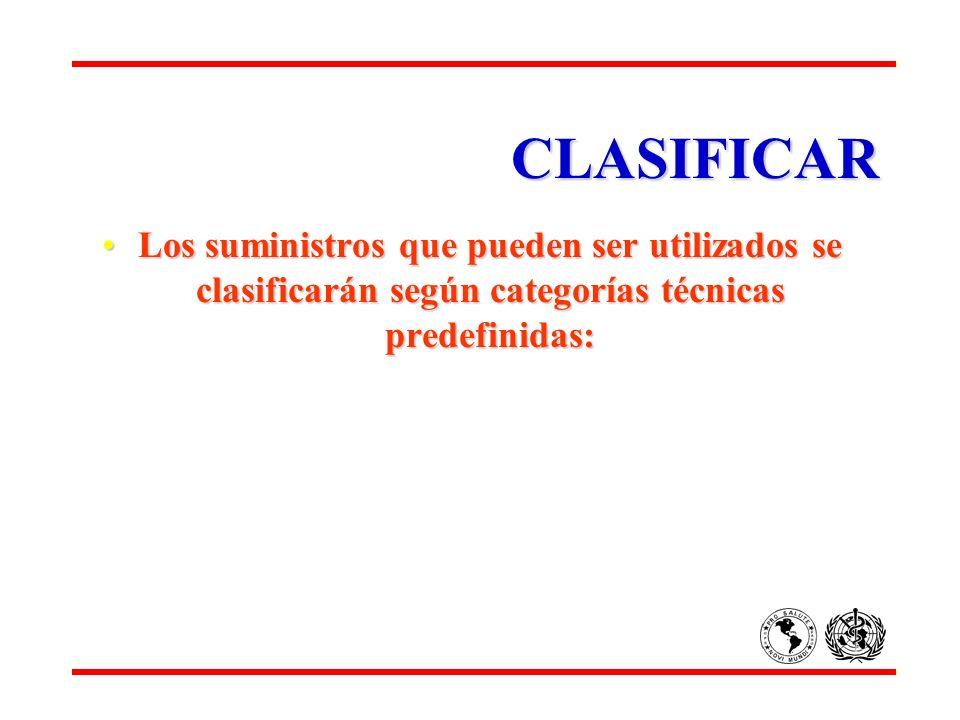 CLASIFICAR Los suministros que pueden ser utilizados se clasificarán según categorías técnicas predefinidas: