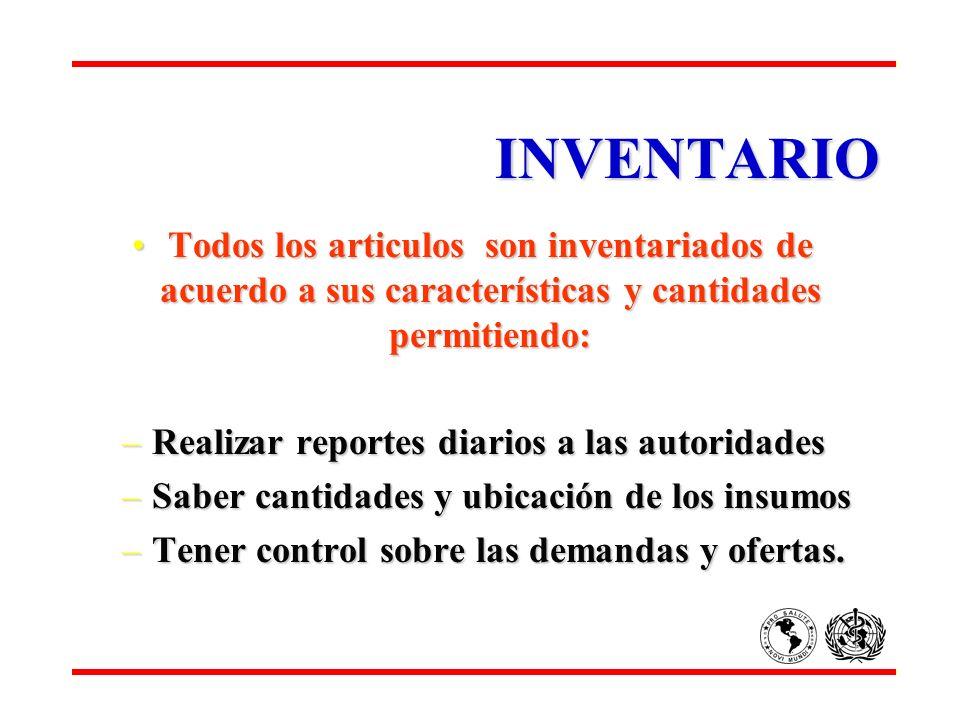 INVENTARIO Todos los articulos son inventariados de acuerdo a sus características y cantidades permitiendo: