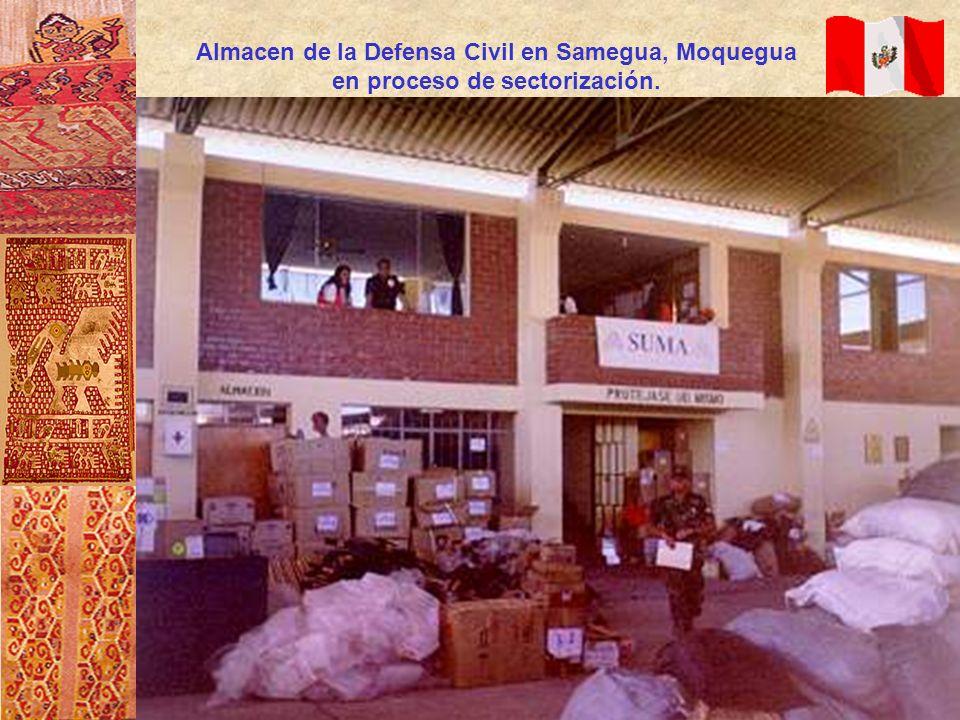 Almacen de la Defensa Civil en Samegua, Moquegua en proceso de sectorización.