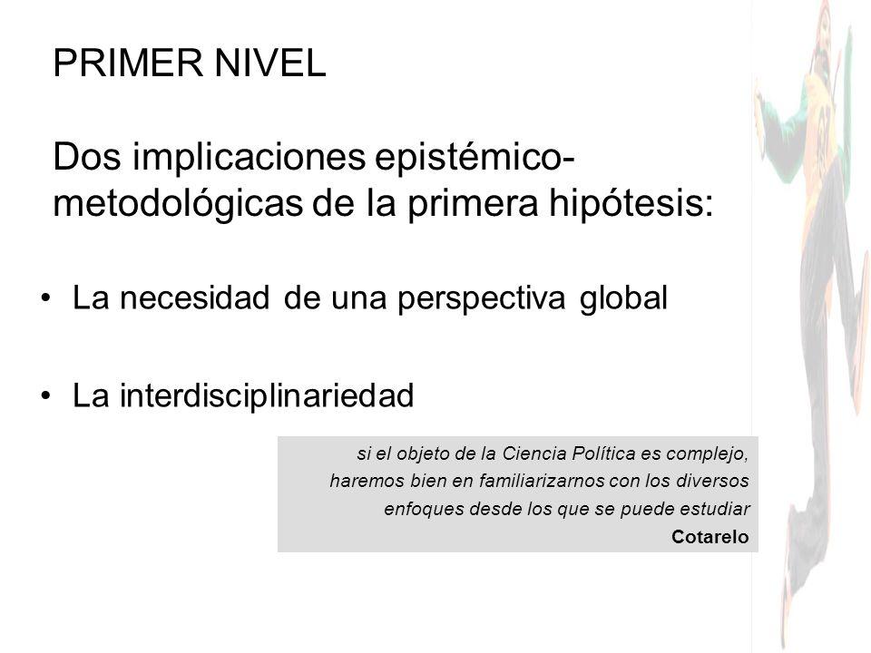 PRIMER NIVEL Dos implicaciones epistémico-metodológicas de la primera hipótesis: