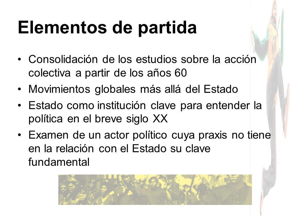 Elementos de partida Consolidación de los estudios sobre la acción colectiva a partir de los años 60.