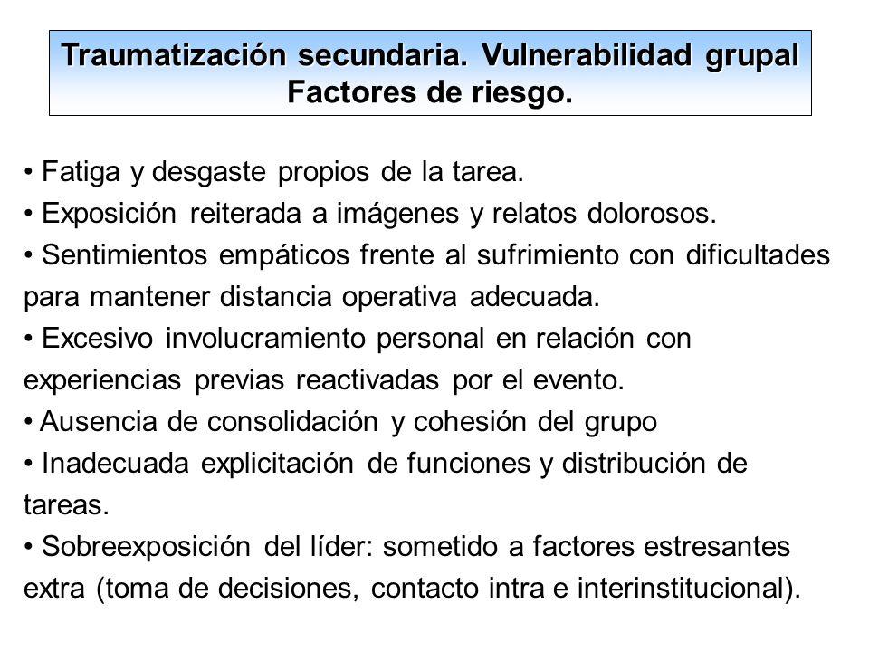 Traumatización secundaria. Vulnerabilidad grupal