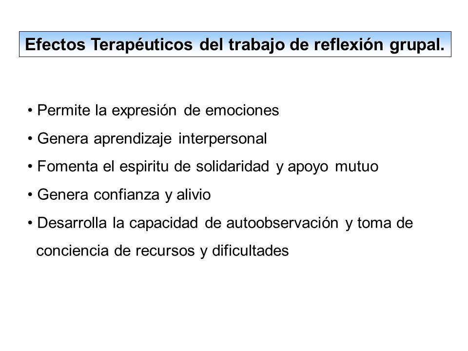 Efectos Terapéuticos del trabajo de reflexión grupal.