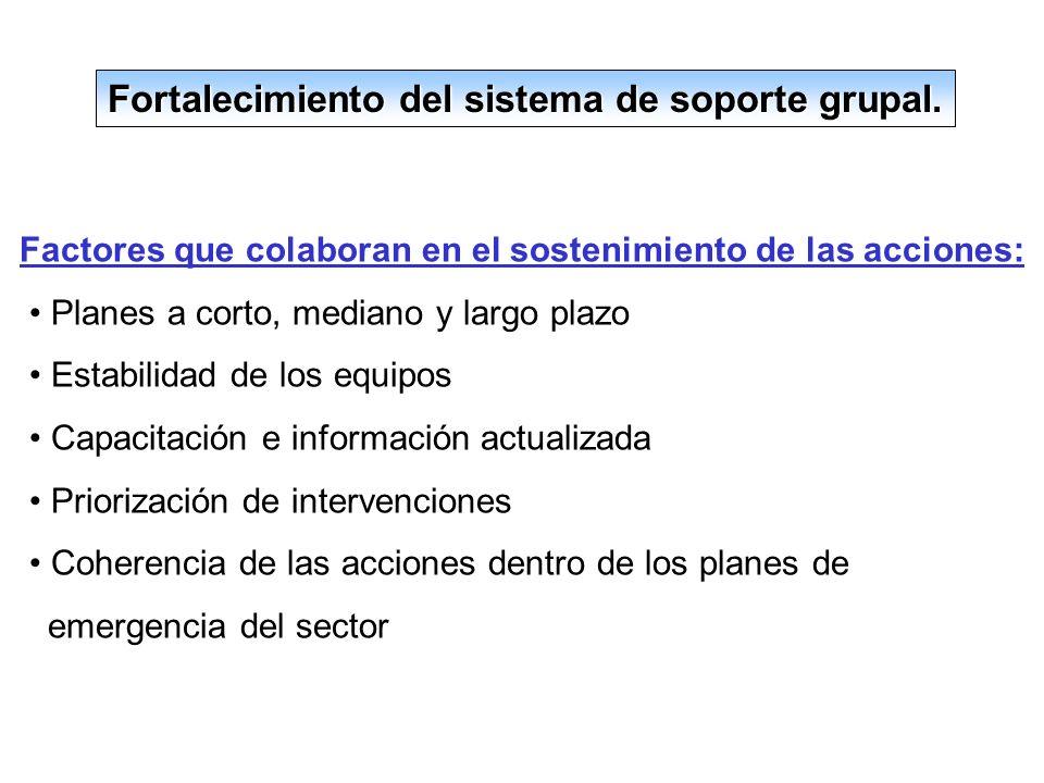 Fortalecimiento del sistema de soporte grupal.