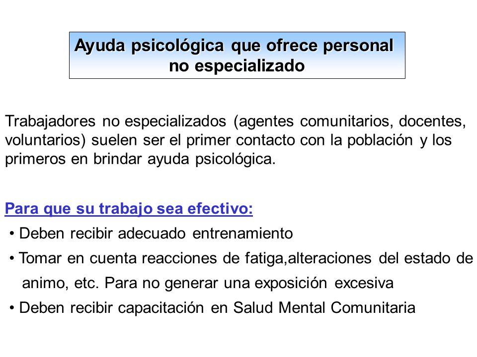 Ayuda psicológica que ofrece personal
