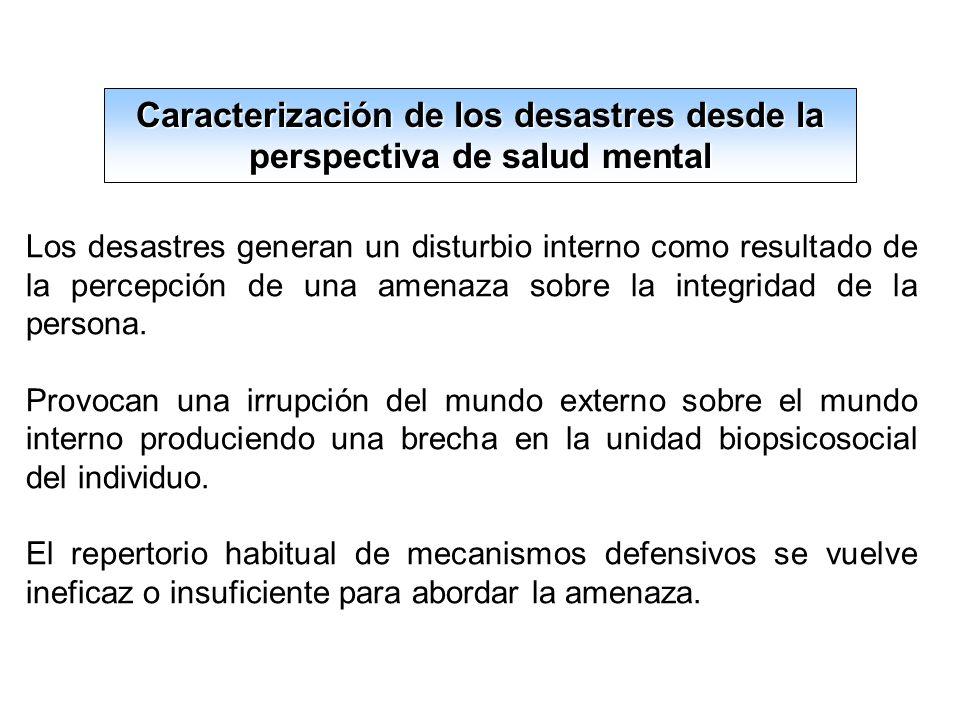 Caracterización de los desastres desde la perspectiva de salud mental