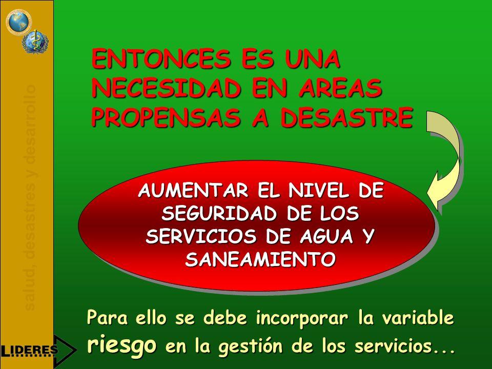 AUMENTAR EL NIVEL DE SEGURIDAD DE LOS SERVICIOS DE AGUA Y SANEAMIENTO