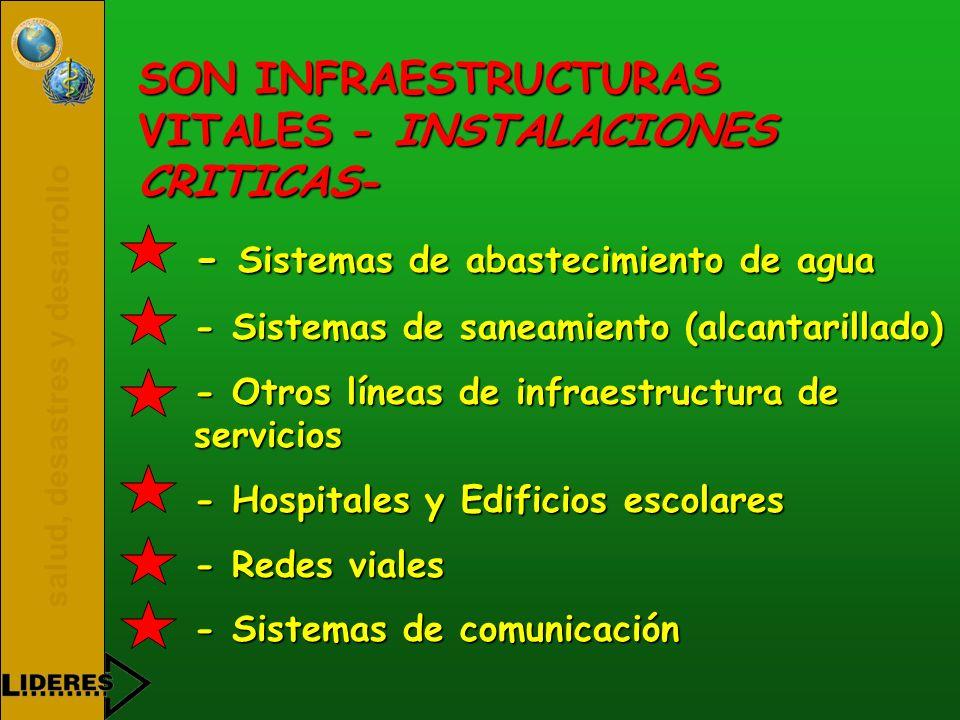 SON INFRAESTRUCTURAS VITALES - INSTALACIONES CRITICAS-