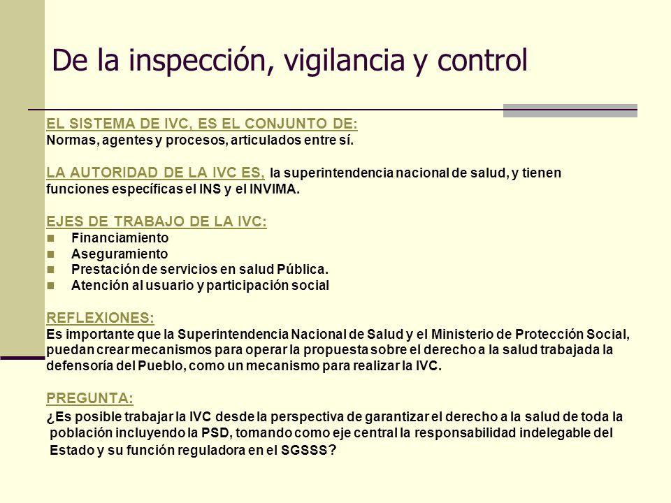 De la inspección, vigilancia y control