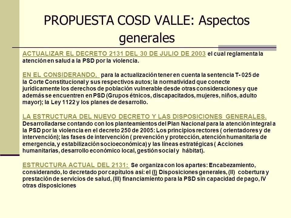 PROPUESTA COSD VALLE: Aspectos generales