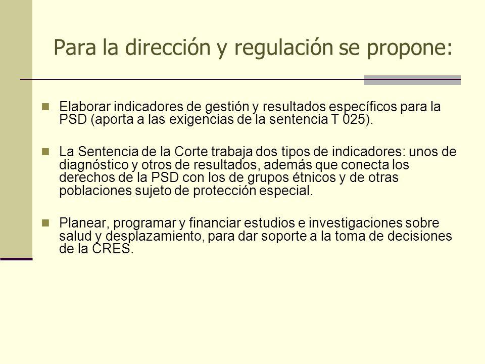 Para la dirección y regulación se propone: