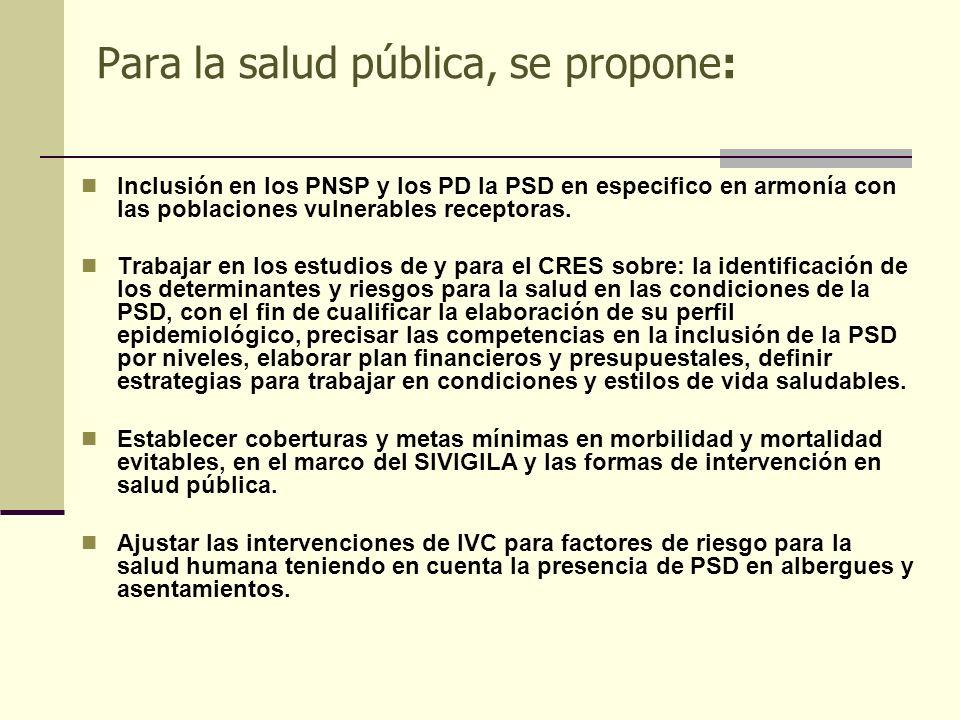 Para la salud pública, se propone: