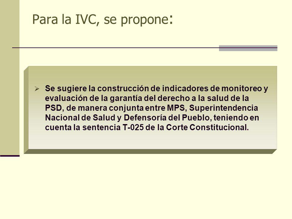 Para la IVC, se propone: